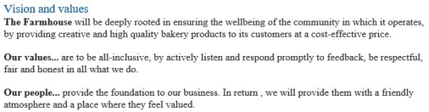Business Plan Bakery Example