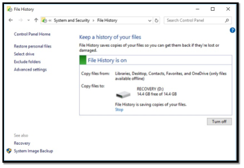 Setup Windows 10 File History - File History On
