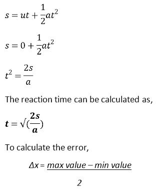 reaction time ruler test