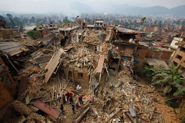 Picture of collapsed buildings after an earthquake in Nepal